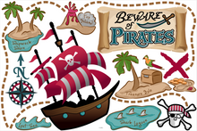 Load image into Gallery viewer, Beware of Pirates! Fabric Wall Decals