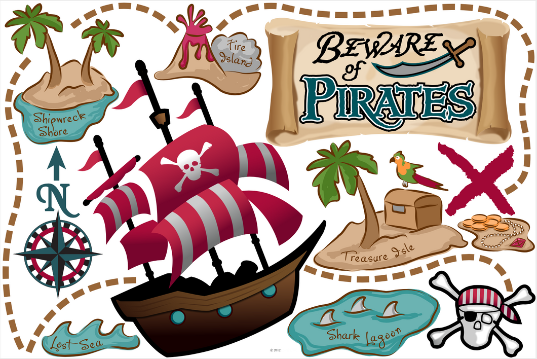 Beware of Pirates! Fabric Wall Decals