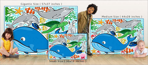 ocean life wall decals size comparison