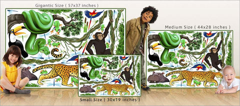 jungle exploration wall decals/stickers size comparison