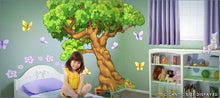 Load image into Gallery viewer, giant tree enchanted woods butterfly wall decals theme room