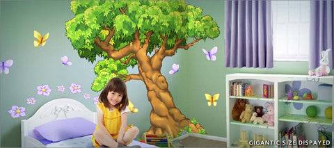 giant tree enchanted woods butterfly wall decals theme room