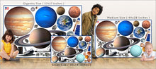 Load image into Gallery viewer, planets and space shuttles wall decals theme room size comparison