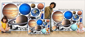 planets and space shuttles wall decals theme room size comparison
