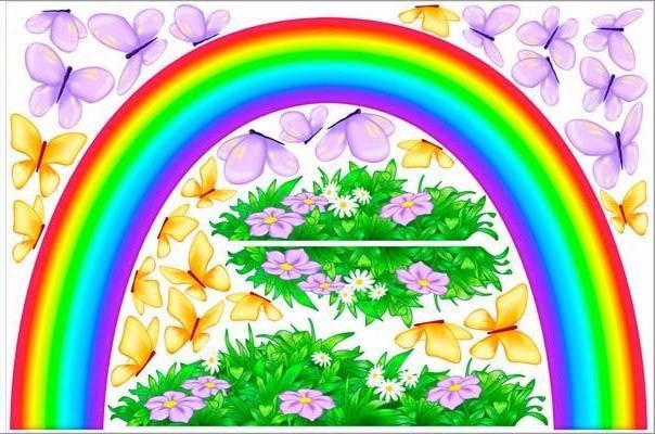 rainbow and butterflies wall sticker theme room print view