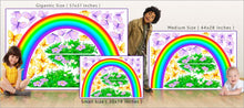 Load image into Gallery viewer, bright rainbow wall decal theme room size comparison