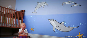 playful dolphins wall decals theme room