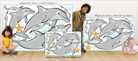 playful dolphin wall decals size comparison