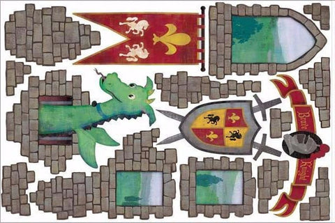 dragon castle wall stickers print view