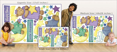 bedtime bears wall decals size comparison