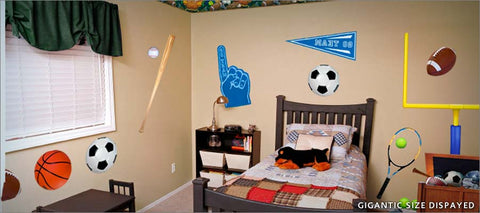 sports fan wall decals theme room - decorate with balls, bats, goal post, and more