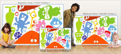 happy monsters wall decals size comparison