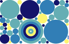 Load image into Gallery viewer, Fun Dots Blue Fabric Wall Decals