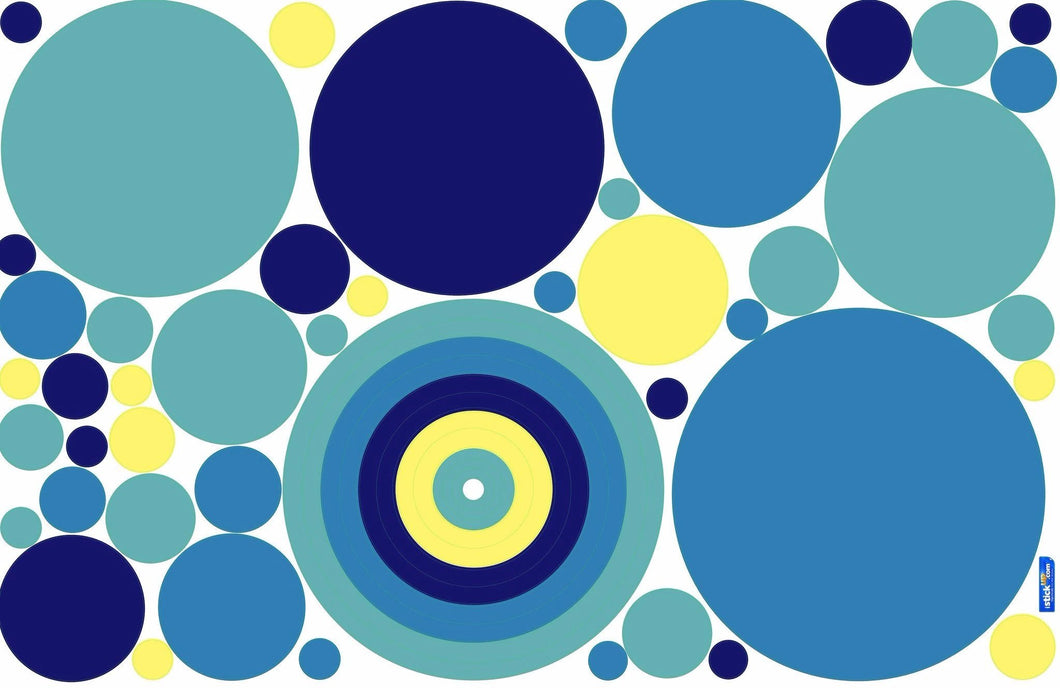 Fun Dots Blue Fabric Wall Decals