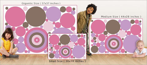 pink purple dot wall decals size comparison