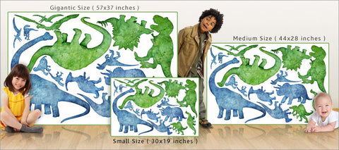 dinosaur silhouette wall decals size comparison