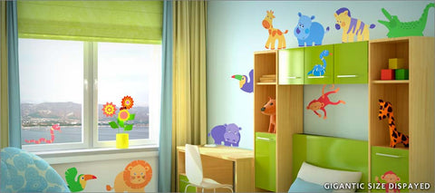 cute jungle animal wall decals theme room