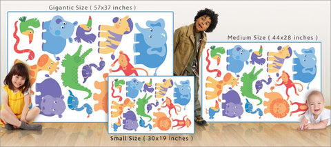 child jungle animal wall decals size comparison