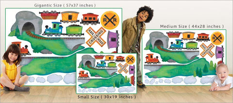 colorful train wall decals size comparison