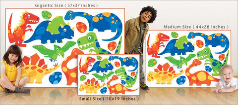 friendly dinosaur wall decals size comparison