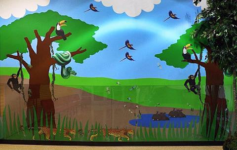Creative Use of Jungle Exploration Wall Decals/Stickers at Discovery Museum