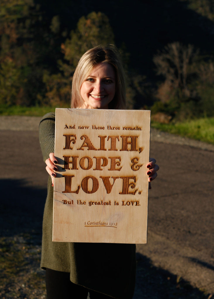 Faith Hope and Love Rustic Sign