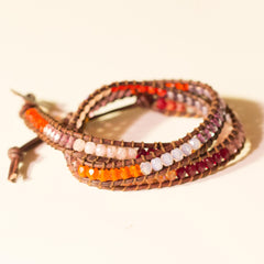 Color Blocked Triple Wrap Bracelet Deep Fall