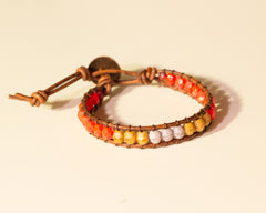 color blocked wrap bracelet red and brown dash of purp