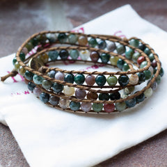 Gemstone Triple Wrap Bracelet (medium gem)