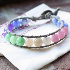 Pastel Gemstone Color Blocked Wrap Bracelet