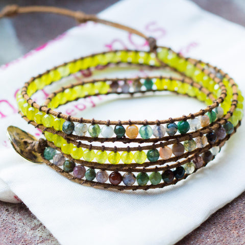 Peridot and Natural Gemstone Triple Wrap Bracelet