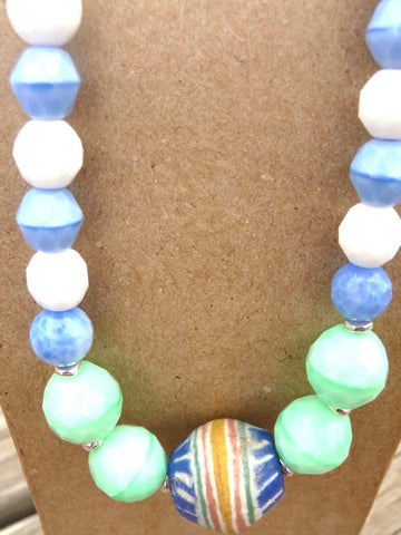 White Mint Blue w Trade Bead Necklace