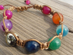 colorful faceted agate macrame bracelet