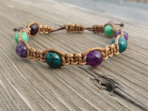 purple and aqua macrame bracelet