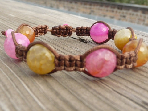 Pink and Brown Macrame Bracelet