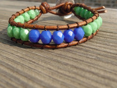 color blocked wrap bracelet blue and mint