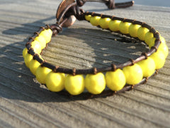 vintage czech neon yellow stitch bracelet