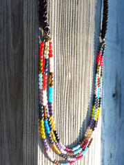 Braided Leather w Colorful Glass Necklace