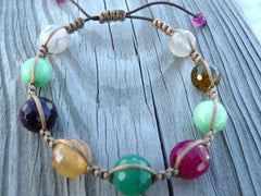 Small Faceted Stone Macrame Bracelet