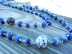 Blue Sodalite w Black Crab Agate Wrap Necklace