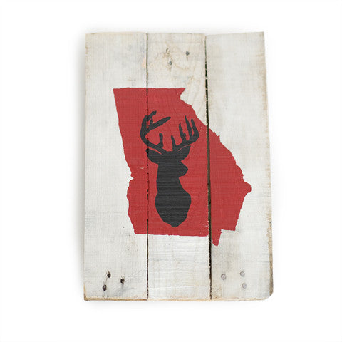 Georgia Athens Gameday Reclaimed Wooden Pallet Art Painted Deer