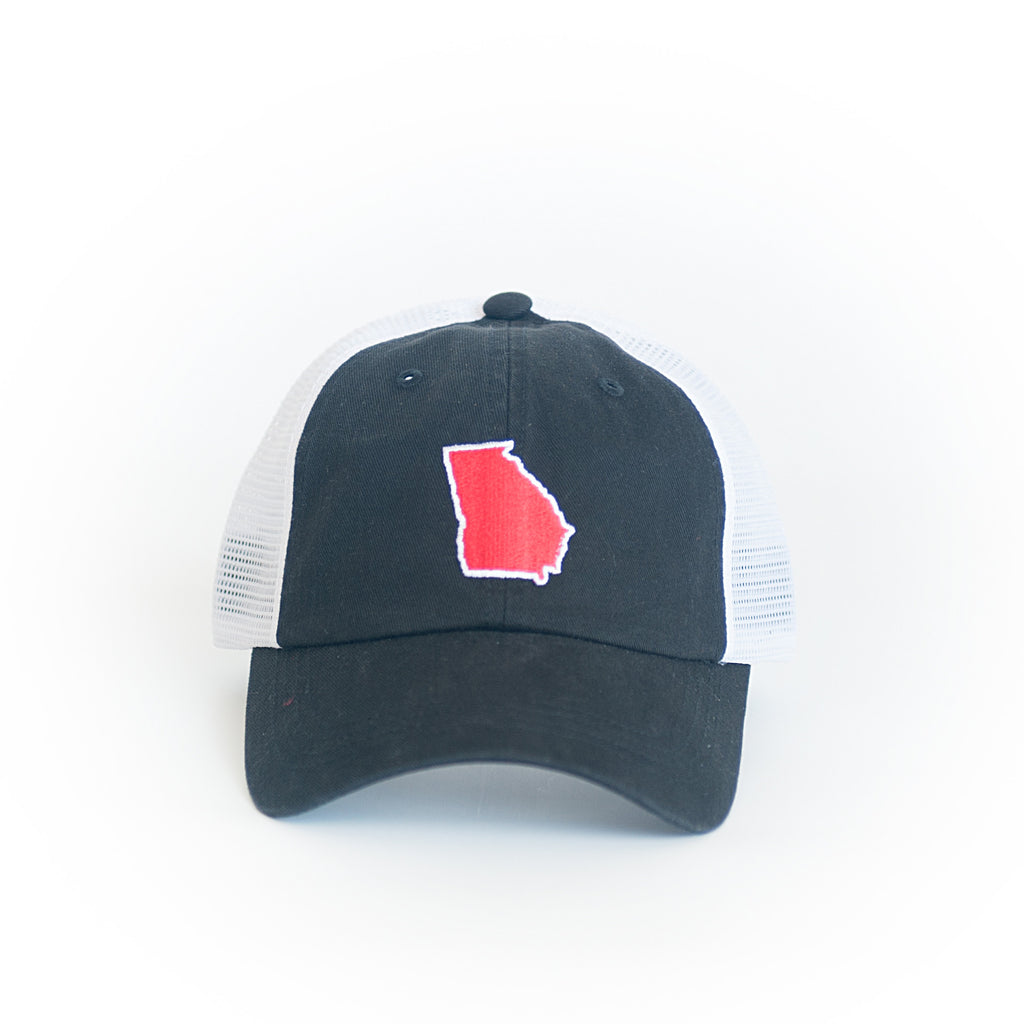 GEORGIA PATCH TRUCKER HAT Preppy Hat Peach State JR Criders State Traditions Black and Red Dawgs Athens Georgia