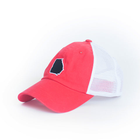 GEORGIA TRUCKER HAT Red and Black Peach State Hat Dawgs