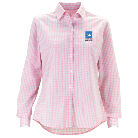 Southern Research Women's Gingham Check Button Down Pink