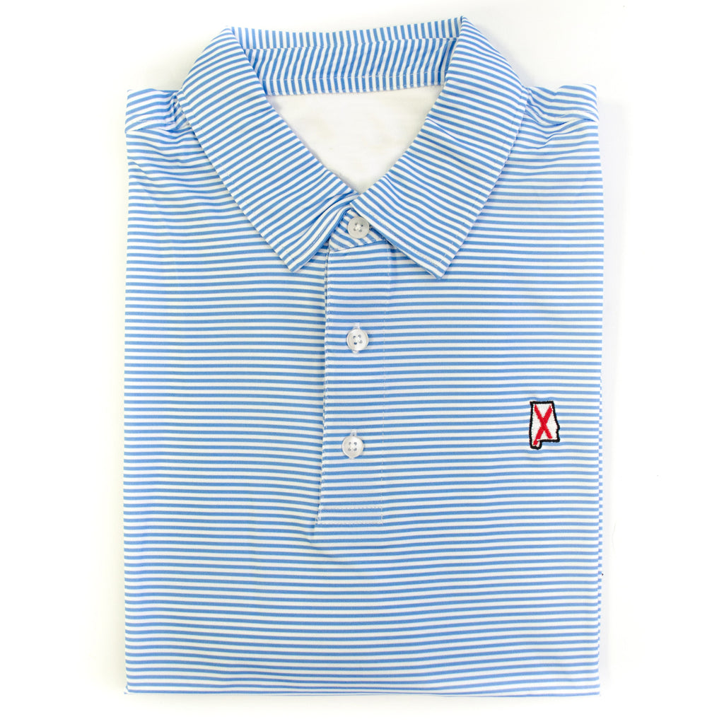 Alabama Traditional Microstripe Performance Polo Light Blue