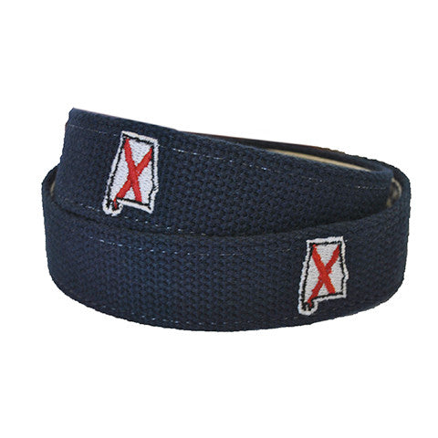 Alabama Traditional Embroidered Belt Navy