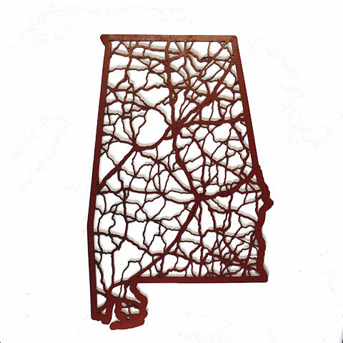Alabama Laser Cut Wooden Wall Map Crimson