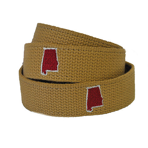 Alabama Tuscaloosa Gameday Embroidered Belt Khaki