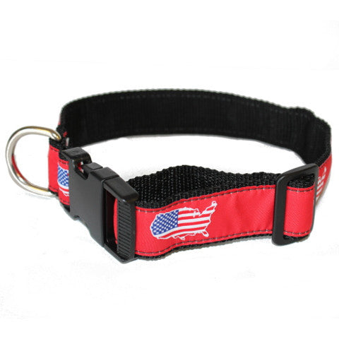 America Traditional Dog Collar Red