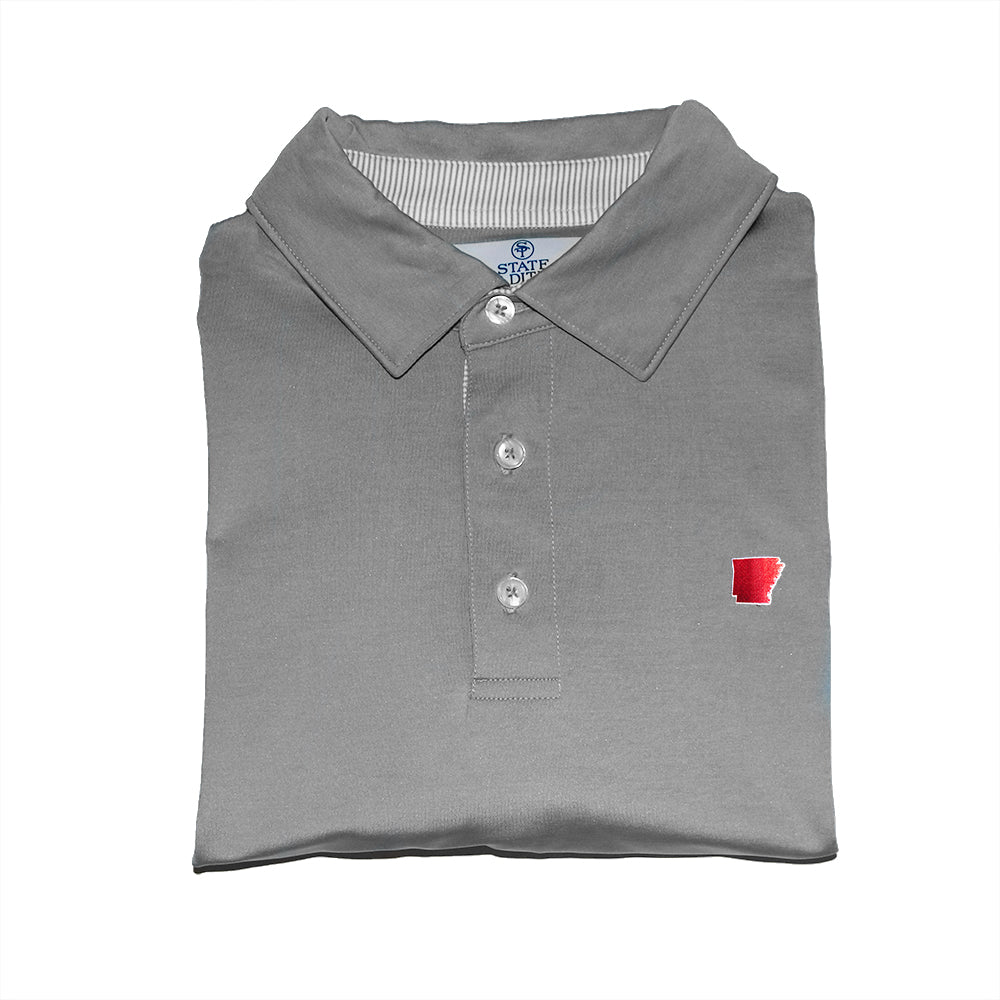 State Traditions Arkansas Signature Polo Grey